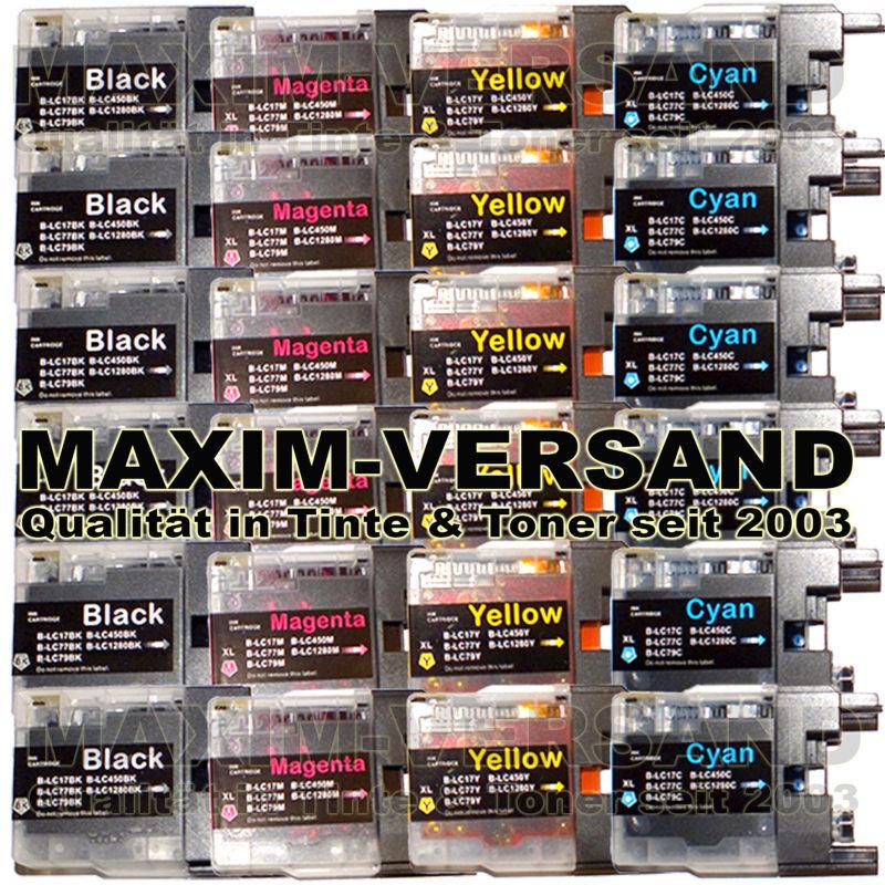 Brother LC-1220 / LC-1240 / LC-1280 BK+C+Y+M kompatibel (small) (24er Set)