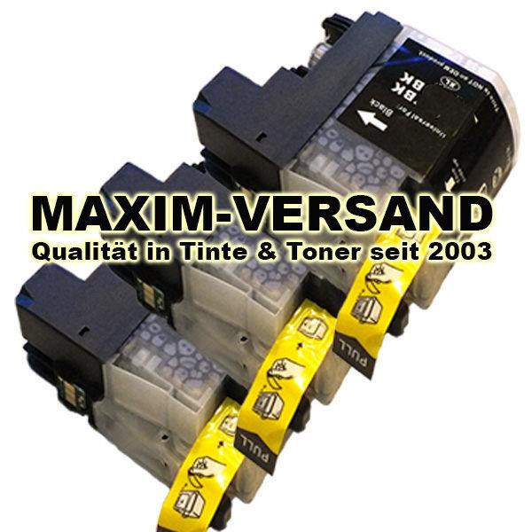 Druckerpatronen Set ersetzt Brother LC-227 XL Black kompatibel x 3