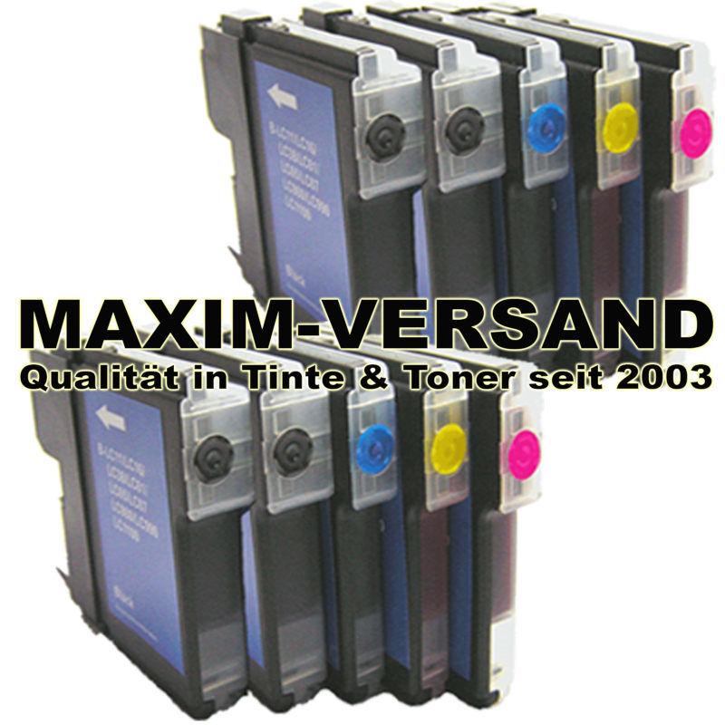 Patronen für Brother LC-980 / LC- 985 / LC-1100 BK+C+Y+M kompatibel (10er Set)