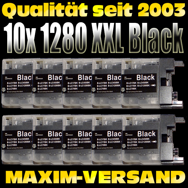 Set ersetzt Multipack Brother LC-1280 XXL Black kompatibel (wide) x 10