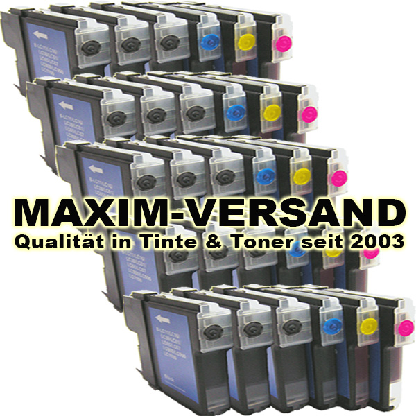 Set ersetzt Brother LC-980/985/1100 BK+C+Y+M kompatibel (30er)