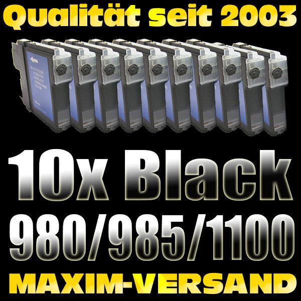 Set ersetzt Multipack Brother LC-980/985/1100 schwarz kompatibel x 10