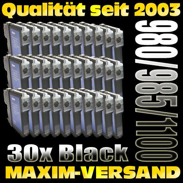 Set ersetzt Multipack Brother LC-980/985/1100 schwarz kompatibel x 30