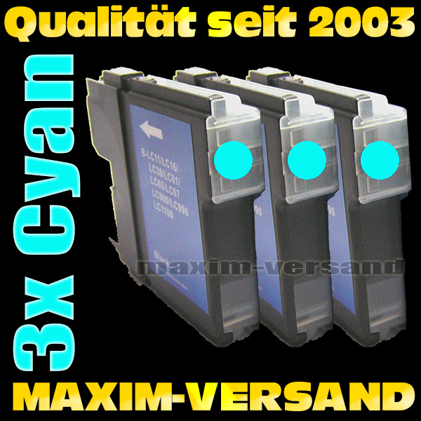 Set ersetzt Multipack Brother LC-980/985/1100 Cyan kompatibel x 3