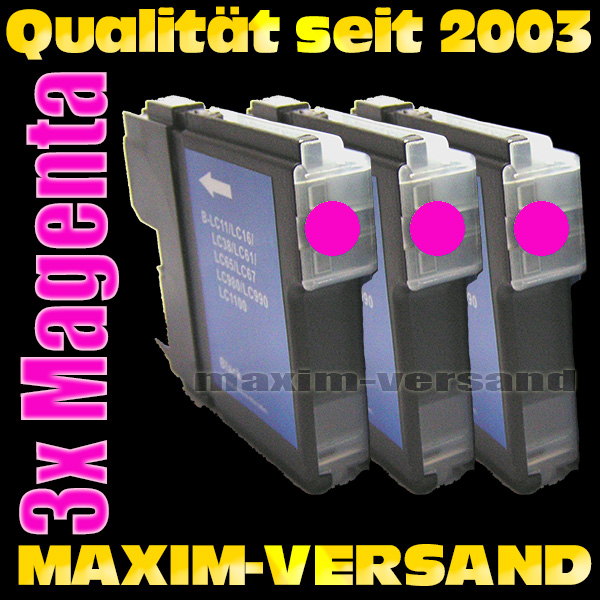 Set ersetzt Multipack Brother LC-980/985/1100 Magenta kompatibel x 3