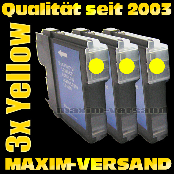 Set ersetzt Multipack Brother LC-980/985/1100 Yellow kompatibel x 3