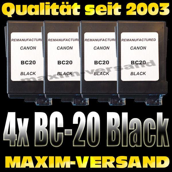 Druckerpatronen Set ersetzt Multipack Canon BC-20 kompatibel x 4