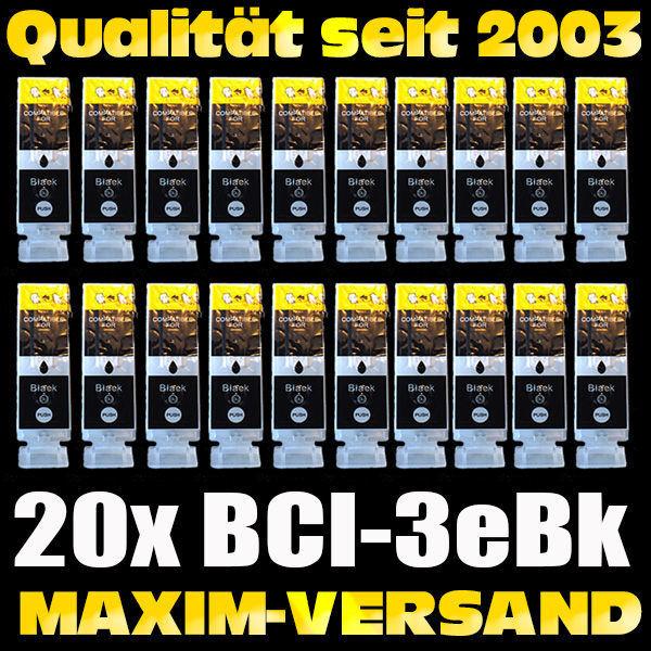 Set ersetzt Canon BCI-3eBK - schwarz / black - kompatibel x 20