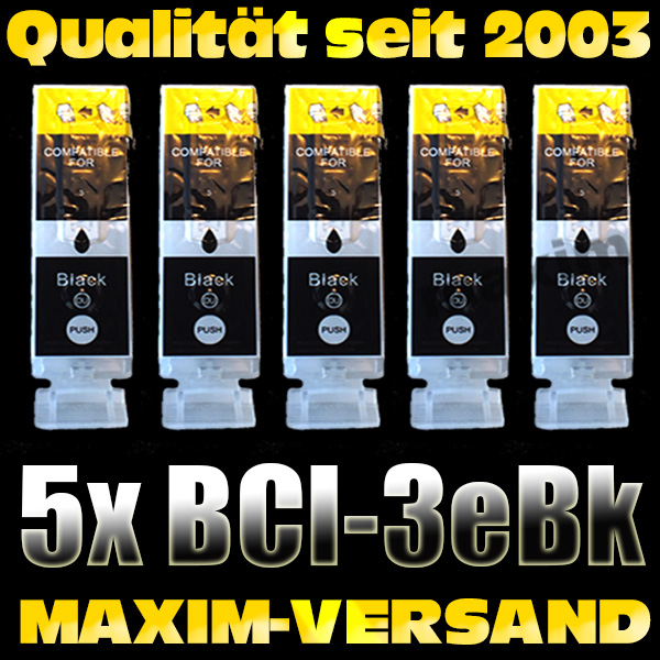 Druckerpatronen Set ersetzt Canon BCI-3eBK schwarz kompatibel x 5