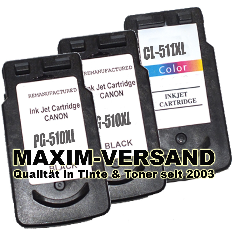 Patronen ersetzen Canon PG-510 x 2 + CL-511 kompatibel (3er Set)