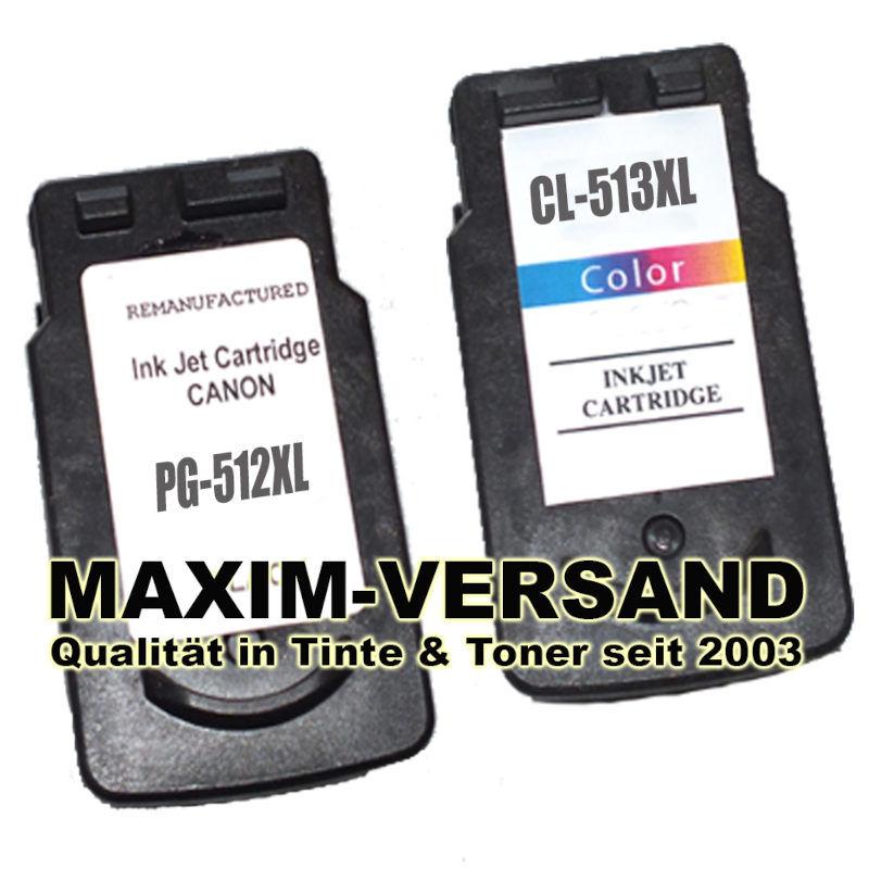 Druckerpatronen ersetzen Canon PG-512 + CL-513 kompatibel (2er Set)