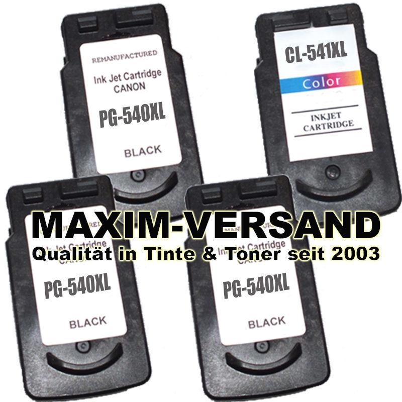 Canon PG-540 XL Black x 3 + CL-541 XL Color - kompatibel (4er Set)