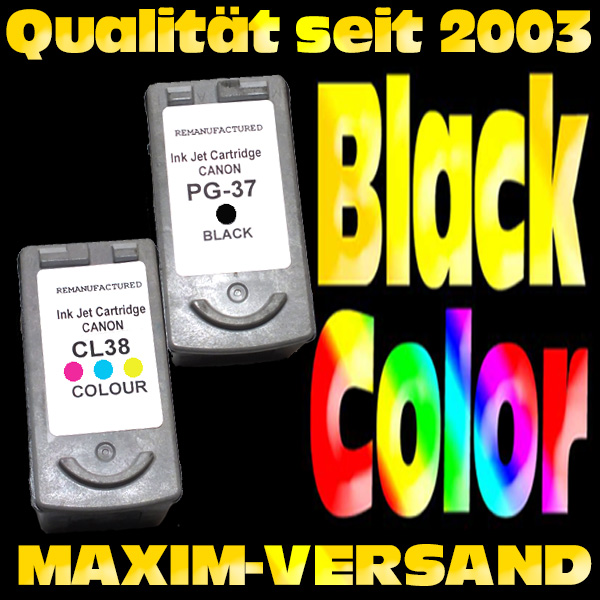 Patronen für Canon PG-37 Black + CL-38 Color -  kompatibel - (2er Set)