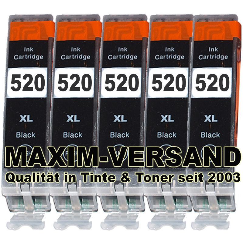 Druckerpatronen Set ersetzt Canon PGI-520 BK schwarz kompatibel x 5