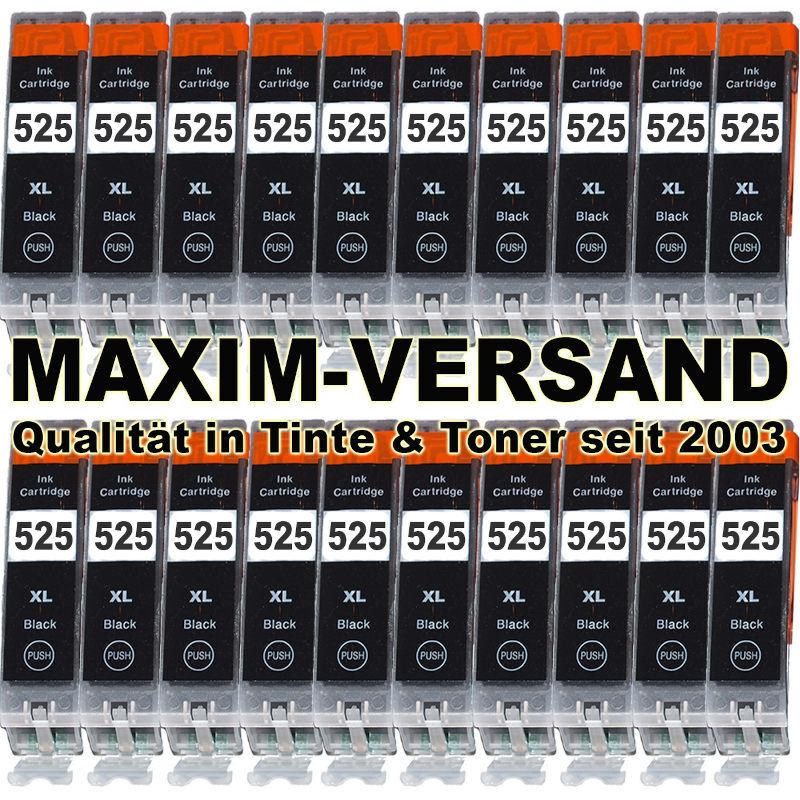 Druckerpatronen Set ersetzt Canon PGI-525 BK schwarz kompatibel x 20