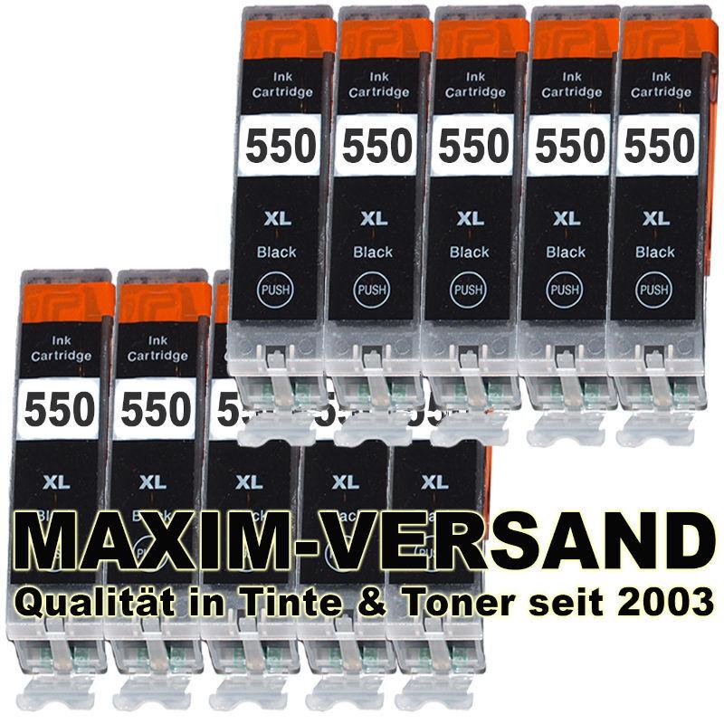 Druckerpatronen Set ersetzt Canon PGI-550 BK schwarz kompatibel x 10