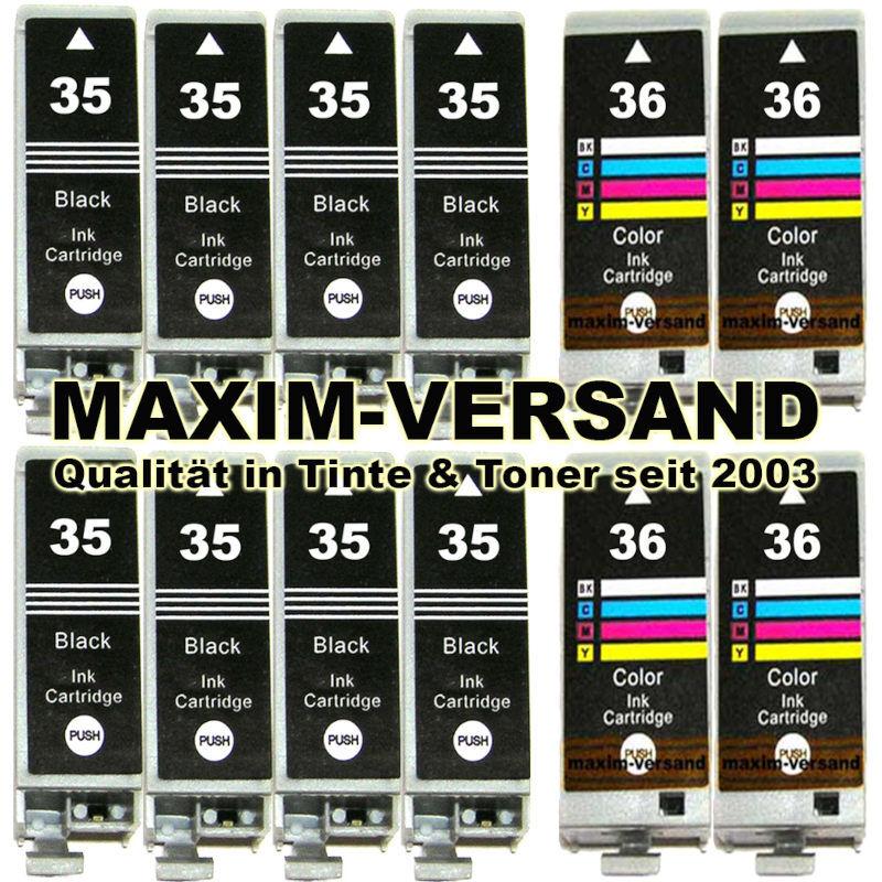 Patronen für Canon PGI-35 Black x 8 + CLI-36 Color x 4 - kompatibel (12er Set)