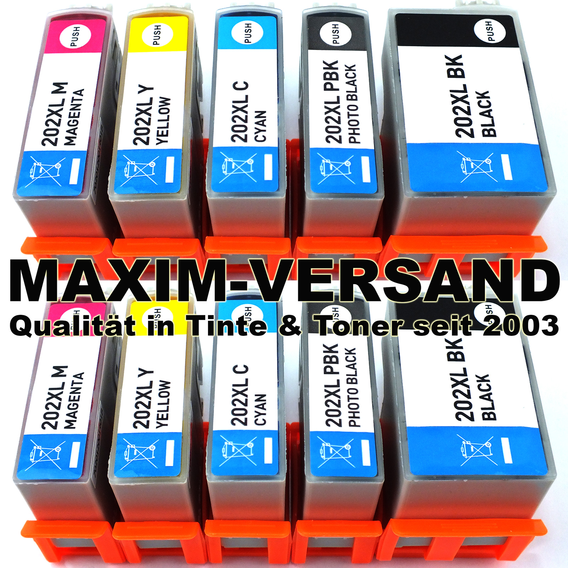Patronen für Epson 202 XL kompatibel Multipack Tintenpatronen (10er Set)