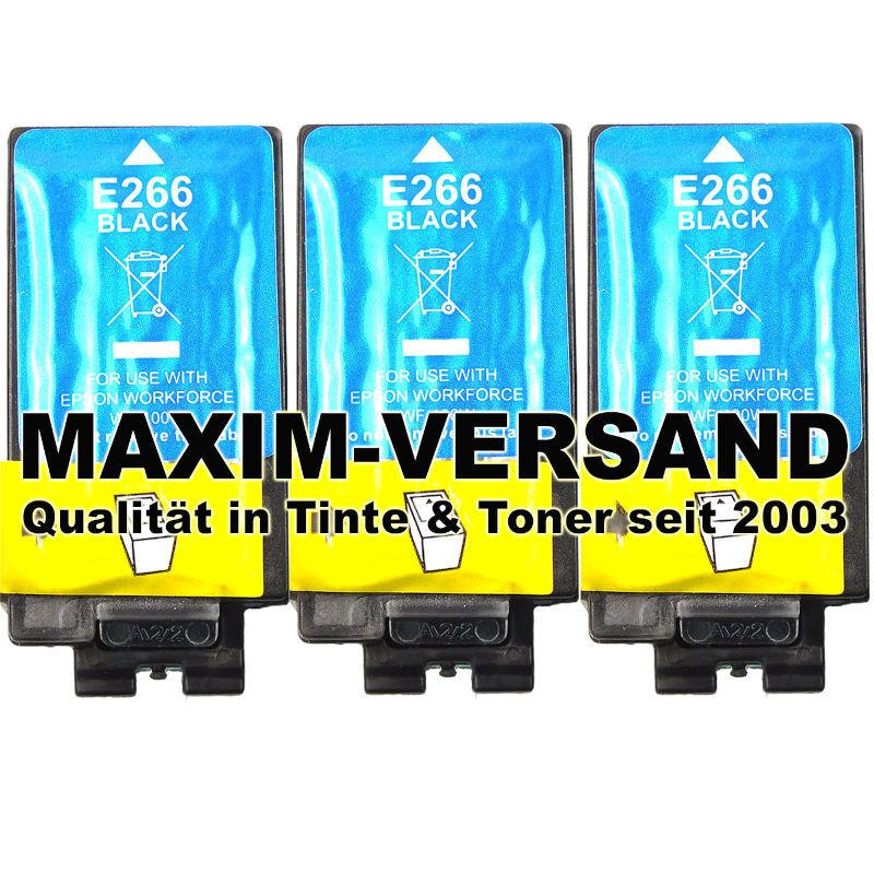 Epson 266 - kompatibel - black / schwarz - Tintenpatronen mit Chips - 3er Pack