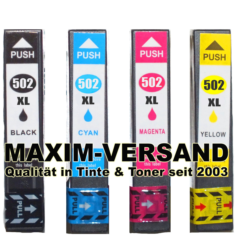 Epson 502 XL kompatibel Multipack Tintenpatronen mit Chips (4er Set)