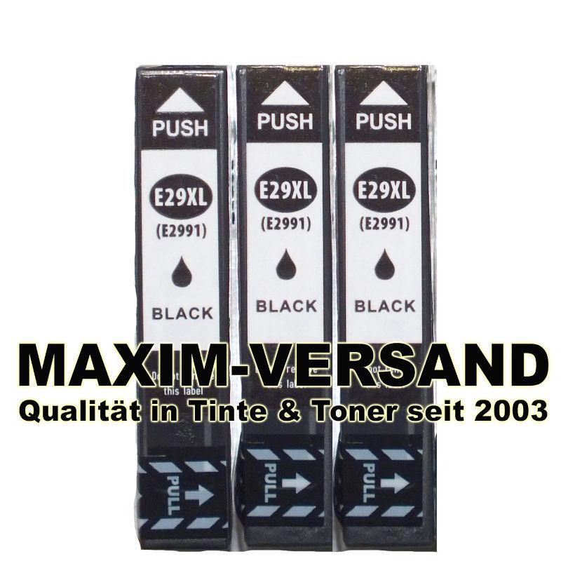 Set für Epson T2981, T2991 (29, 29XL) - kompatibel - schwarz / black - (3er Pack)