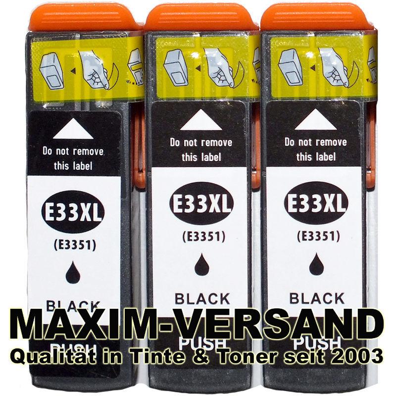 Patronen für Epson T3351 (33XL) - kompatibel - schwarz / black - (3er Pack)
