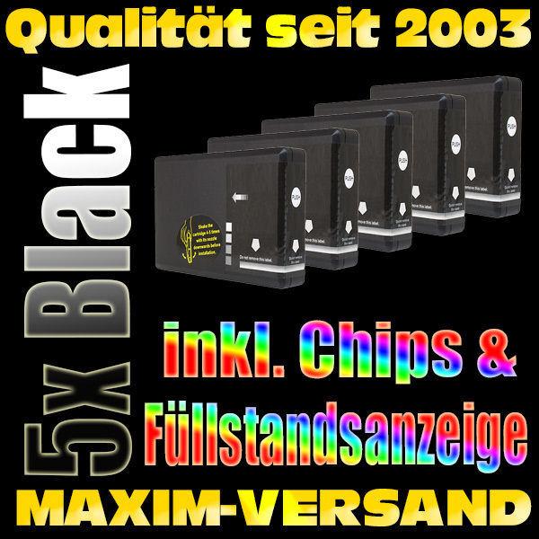 Set für Epson T7011 (große Patronen) schwarz / black kompatibel x 5