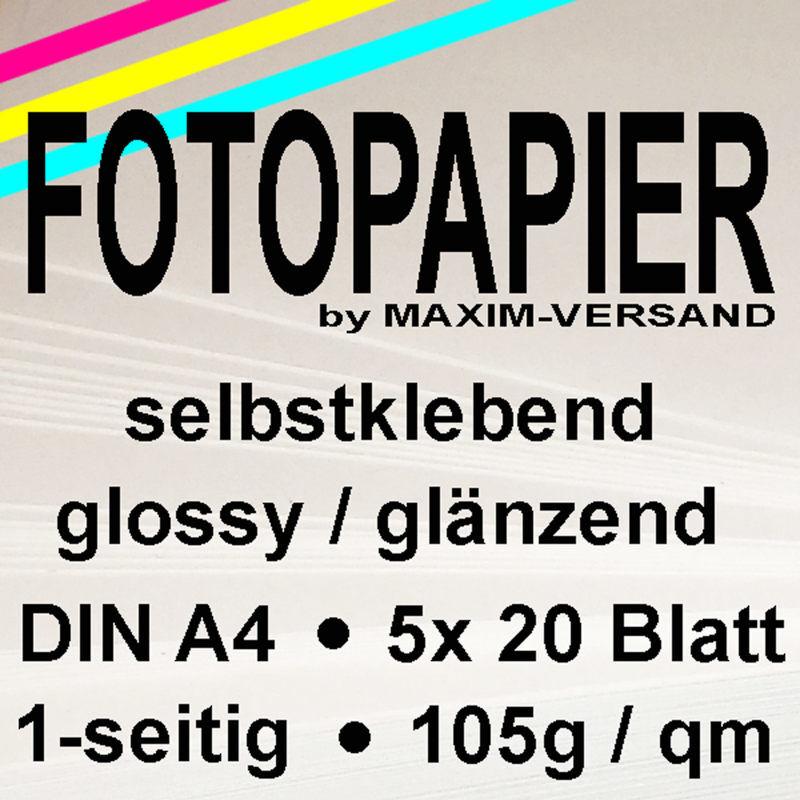 MAXIM Fotopapier - 105g/m² - A4 - glänzend - 20 Blatt - selbstklebend x 5