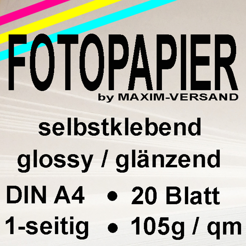 MAXIM Fotopapier - 105g/m² - A4 - glänzend - 20 Blatt  - selbstklebend