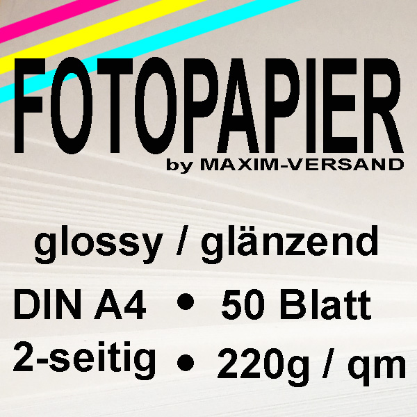 MAXIM Fotopapier - 220g/m² - A4 - 2-seitig - glänzend - 50 Blatt