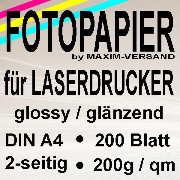 MAXIM Laser-Fotopapier - 200g/m² - A4 - 2-seitig - glänzend - (2er-Pack)