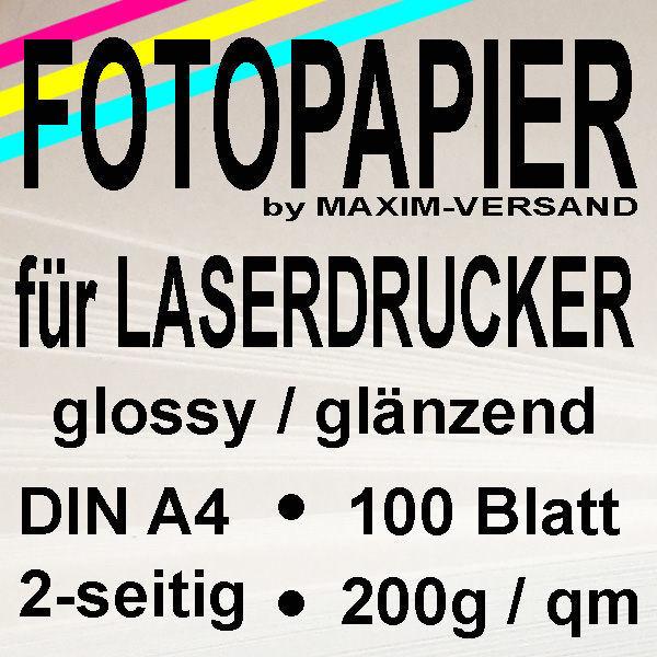 MAXIM Laser-Fotopapier - 200g/m² - A4 - 2-seitig - glänzend - 100 Blatt