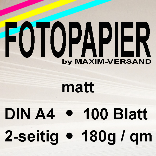 MAXIM Fotopapier - 180g/m² - A4 - 2-seitig - matt - 100 Blatt