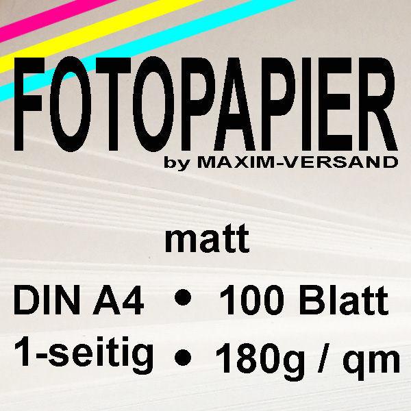 MAXIM Fotopapier - 180g/m² - A4 - 1-seitig - matt - 100 Blatt