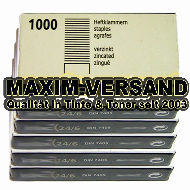 Office: 5x Heftklammern 24/6 a 1.000 Stück = 5.000 Stück