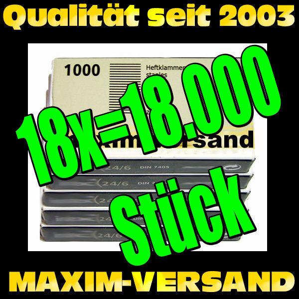Office: 18x Heftklammern 24/6 a 1.000 Stück = 18.000 Stück