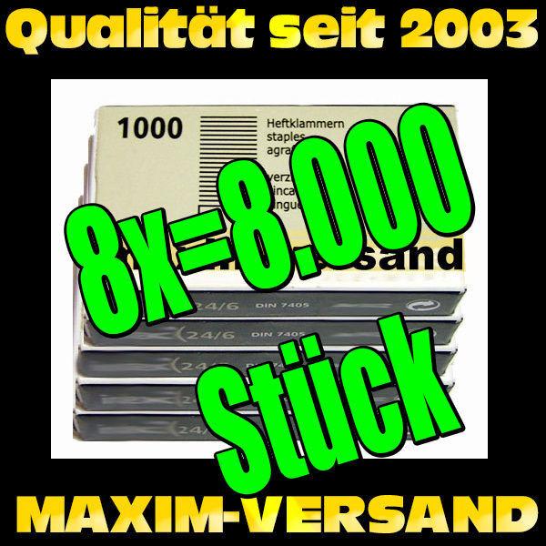 Office: 8x Heftklammern 24/6 a 1.000 Stück = 8.000 Stück