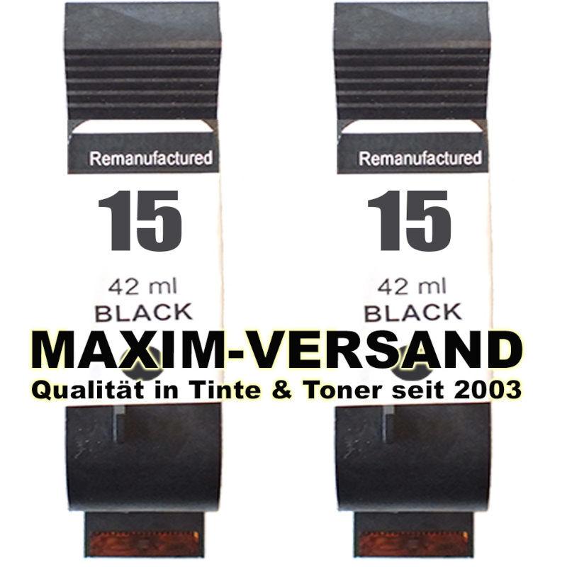 Druckerpatronen Set ersetzt HP 15 Schwarz / Black x 2 - kompatibel
