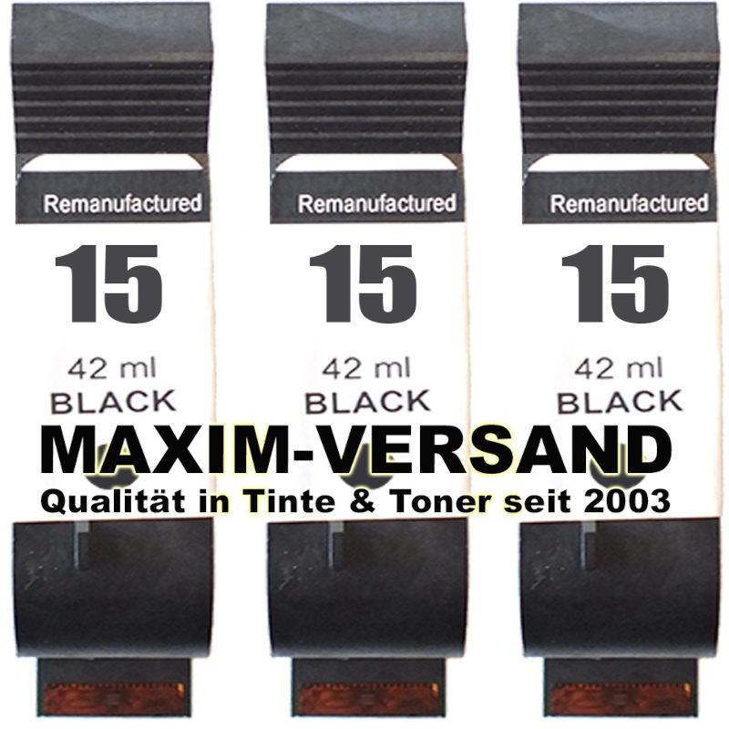 Druckerpatronen Set ersetzt HP 15 Schwarz / Black x 3 - kompatibel