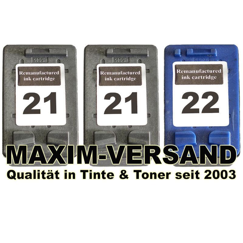 HP 21 x 2 Schwarz / Black + HP 22 Farbe / Color kompatibel (3er Set)