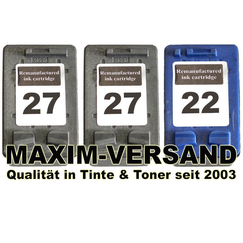 HP 27 Schwarz x 2 + HP 22 Color kompatibel (3er Set)