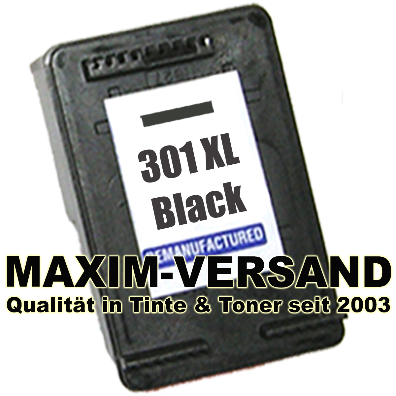 HP 301 XL - recycelt - neue Version - CH563EE - schwarz / black