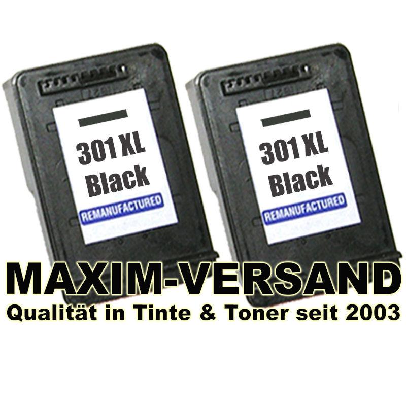 Druckerpatronen Set ersetzt HP 301 XL Schwarz / Black - x 2 kompatibel