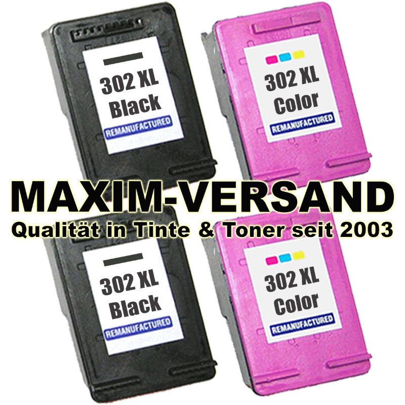 HP 302 XL Black x 2 + HP 302 XL Color x 2 - kompatibel (4er Set)