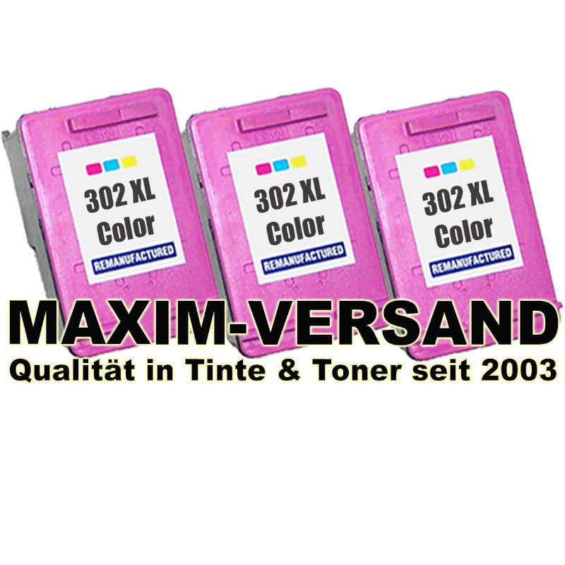 HP 302 XL farbig / color - kompatibel - (3er Pack)