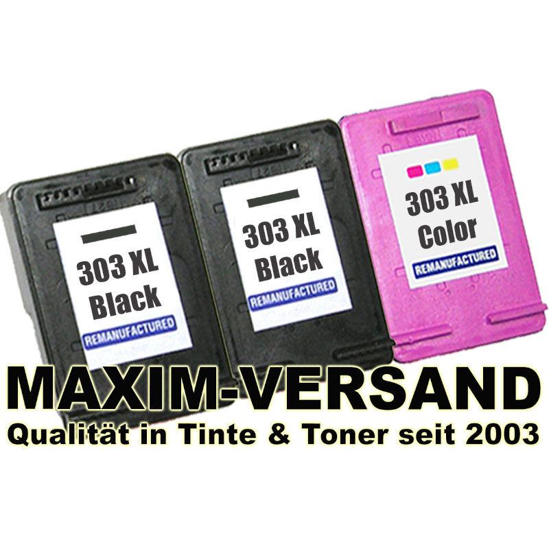 Patronen für HP 303 XL Schwarz + HP 303 XL Tri-Color - kompatibel (3er Set)