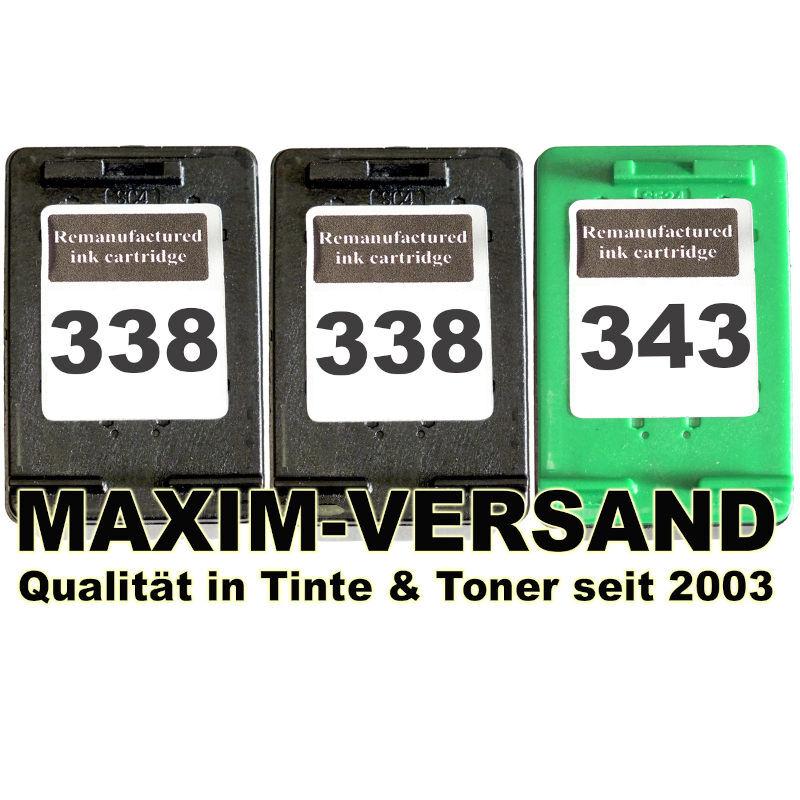 Druckerpatronen Set ersetzt Multipack HP 338 x 2 + HP 343 kompatibel