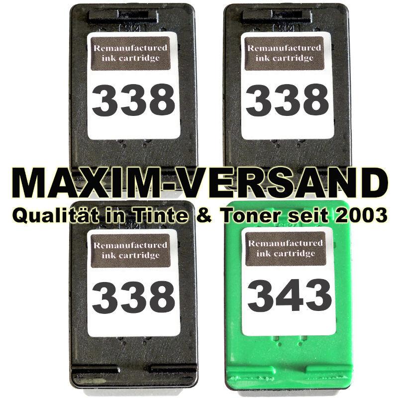 Druckerpatronen Set ersetzt Multipack HP 338 x 3 + HP 343 kompatibel