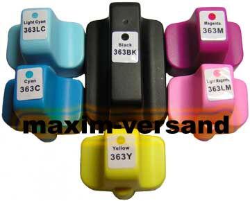 Druckerpatronen ersetzen HP 363 XL alle Farben kompatibel (6er Set)