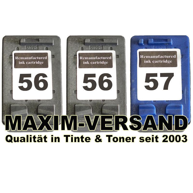 HP 56 x 2 Schwarz / Black + HP 57 Farbe / Color kompatibel (3er Set)
